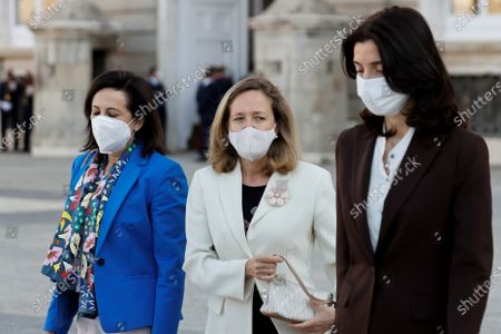 Kings of Spain attend the act of state tribute to the victims of the covid-19 pandemic and recognition of health personnel at Plaza la Armeria of the Palacio Real, in Madrid on July 15, 2021 Defense Minister Margarita Robles ; First Vice President Nadia Calvino ; Minister of Justice, Pilar Llop