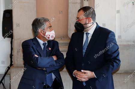 Stock Image of Kings of Spain attend the act of state tribute to the victims of the covid-19 pandemic and recognition of health personnel at Plaza la Armeria of the Palacio Real, in Madrid on July 15, 2021 President of Cantabria, Miguel Angel Revilla ; President of the Principality of Asturias, Adrian Barbon