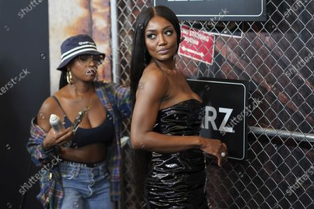 """Patina Miller, right, receives last minute hair touch-ups at the world premiere of """"Power Book III: Raising Kanan"""" at the Hammerstein Ballroom, in New York"""