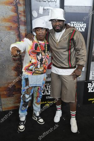 """Mekai Curtis, left, and Curtis """"50 Cent"""" Jackson attend the world premiere of """"Power Book III: Raising Kanan"""" at the Hammerstein Ballroom, in New York"""
