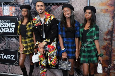 """D'Lila Star Combs, left, Quincy Brown, Chance Combs and Jessie James Combs attend the world premiere of """"Power Book III: Raising Kanan"""" at the Hammerstein Ballroom, in New York"""