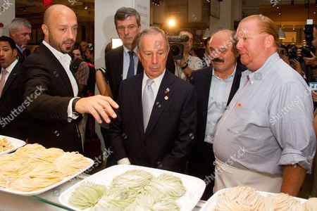Stock Photo of Joseph Bastianich, Mayor Michael Bloomber and Mario Batali tour Eataly