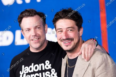 English singer Marcus Mumford (R) and US Actor Jason Sudeikis pose prior to the premiere of the Apple's 'Ted Lasso' Season 2 at Pacific Design Center in Hollywood, California, USA, 15 July 2021. The second season of the TV show will air on July 23, 2021.