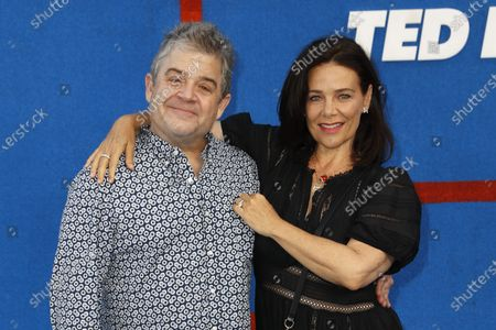 Patton Oswalt (L) and actress Meredith Salenger pose prior to the premiere of the Apple's 'Ted Lasso' Season 2 at Pacific Design Center in Hollywood, California, USA, 15 July 2021. The second season of the TV show will air on July 23, 2021.