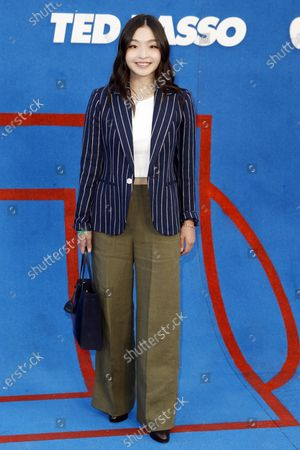US ice dancer Maia Shibutani poses prior to the premiere of the Apple's 'Ted Lasso' Season 2 at Pacific Design Center in Hollywood, California, USA, 15 July 2021. The second season of the TV show will air on July 23, 2021.
