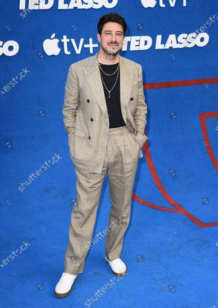 """Marcus Mumford arrives at the premiere of the second season of """"Ted Lasso"""", at the Pacific Design Center"""