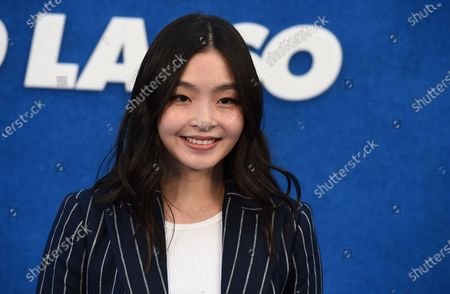 """Maia Shibutani arrives at the premiere of the second season of """"Ted Lasso"""", at the Pacific Design Center"""