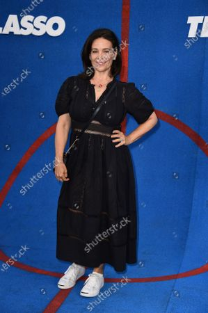 """Meredith Salenger arrives at the premiere of the second season of """"Ted Lasso"""", at the Pacific Design Center"""