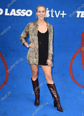 """Nikki Glaser arrives at the premiere of the second season of """"Ted Lasso"""", at the Pacific Design Center"""