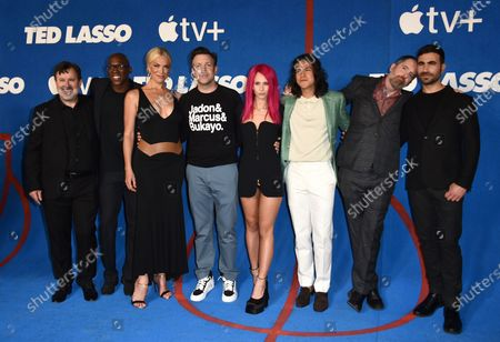 """From left, co-stars Jeremy Swift, Moe Jeudy-Lamour, Hannah Waddingham, Jason Sudeikis, Juno Temple, Cristo Fernendez, Brendan Hunt and Brett Goldstein arrive at the premiere of the second season of """"Ted Lasso"""", at the Pacific Design Center"""
