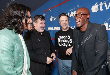 """Cristo Fernandez, Jeremy Swift, Jason Sudeikis, Creator/Executive Producer/Star and Moe Jeudy-Lamour attend Apple""""s """"Ted Lasso"""" season two premiere at the Pacific Design Center. """"Ted Lasso"""" season two will premiere globally on Apple TV+ on July 23rd."""