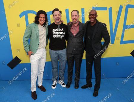 """Cristo Fernandez, Jason Sudeikis, Creator/Executive Producer/Star, Brendan Hunt, Executive Producer/Star and Moe Jeudy-Lamour attend Apple""""s """"Ted Lasso"""" season two premiere at the Pacific Design Center. """"Ted Lasso"""" season two will premiere globally on Apple TV+ on July 23rd."""