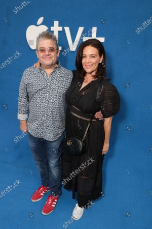 """Patton Oswalt and Meredith Salenger attend Apple""""s """"Ted Lasso"""" season two premiere at the Pacific Design Center. """"Ted Lasso"""" season two will premiere globally on Apple TV+ on July 23rd."""