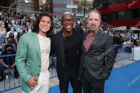 """Cristo Fernandez, Moe Jeudy-Lamour and Brendan Hunt, Executive Producer/Star attend Apple""""s """"Ted Lasso"""" season two premiere at the Pacific Design Center. """"Ted Lasso"""" season two will premiere globally on Apple TV+ on July 23rd."""