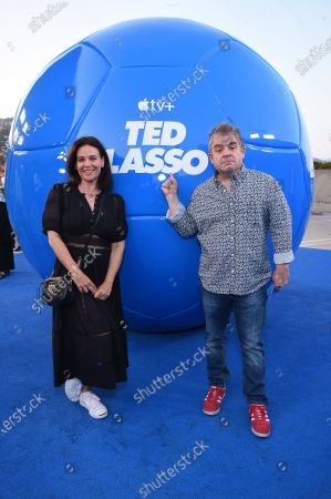 """Meredith Salenger and Patton Oswalt attend Apple""""s """"Ted Lasso"""" season two premiere at the Pacific Design Center. """"Ted Lasso"""" season two will premiere globally on Apple TV+ on July 23rd."""