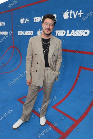 """Marcus Mumford attends Apple""""s """"Ted Lasso"""" season two premiere at the Pacific Design Center. """"Ted Lasso"""" season two will premiere globally on Apple TV+ on July 23rd."""