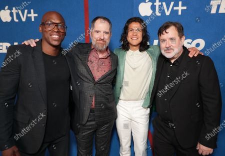 """Moe Jeudy-Lamour, Brendan Hunt, Executive Producer/Star, Cristo Fernandez and Jeremy Swift attends Apple""""s """"Ted Lasso"""" season two premiere at the Pacific Design Center. """"Ted Lasso"""" season two will premiere globally on Apple TV+ on July 23rd."""