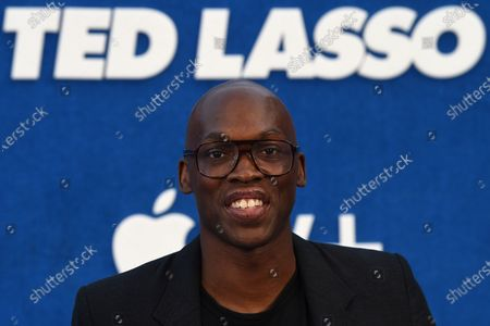 """Moe Jeudy-Lamour arrives at the premiere of the second season of """"Ted Lasso"""", at the Pacific Design Center"""