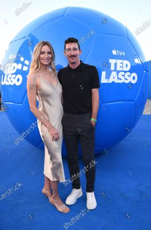 """Jamie Lee Darley and Sacha Kljestan attend Apple""""s """"Ted Lasso"""" season two premiere at the Pacific Design Center. """"Ted Lasso"""" season two will premiere globally on Apple TV+ on July 23rd."""