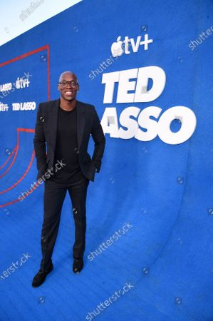 """Stock Image of Moe Jeudy-Lamour attends Apple""""s """"Ted Lasso"""" season two premiere at the Pacific Design Center. """"Ted Lasso"""" season two will premiere globally on Apple TV+ on July 23rd."""
