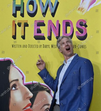 """Stock Picture of Cast member Rob Huebel attends the premiere of the motion picture comedy """"How It Ends"""" at NeueHouse in Los Angeles on Thursday, July 15, 2021. Storyline: In this feel-good apocalyptic comedy, Liza (Zoe Lister-Jones) embarks on a hilarious journey through LA in hopes of making it to her last party before it all ends, running into an eclectic cast of characters along the way."""