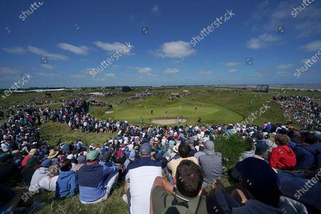 United States' Patrick Reed putts on the 6th green during the second round of the British Open Golf Championship at Royal St George's golf course Sandwich, England