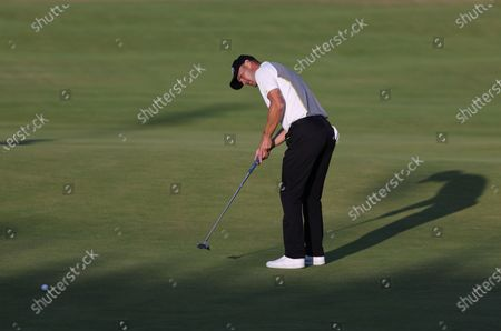 Germany's Martin Kaymer putts on the 18th green during the second round of the British Open Golf Championship at Royal St George's golf course Sandwich, England
