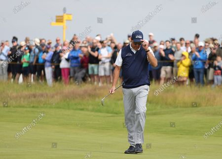 United States' Phil Mickelson acknowledges the crowd on then 1st green during the second round of the British Open Golf Championship at Royal St George's golf course Sandwich, England