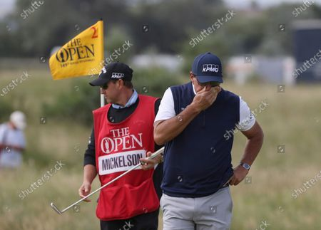 United States' Phil Mickelson reacts to his putting on the 2nd green during the second round of the British Open Golf Championship at Royal St George's golf course Sandwich, England