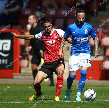 Ivan Sanchez of Birmingham City and Liam Sercombe of Cheltenham Town