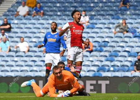 Pierre-Emerick Aubameyang of Arsenal rues a missed chance on goal