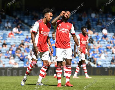 Alexandre Lacazette and Pierre-Emerick Aubameyang of Arsenal rue a missed chance on goal