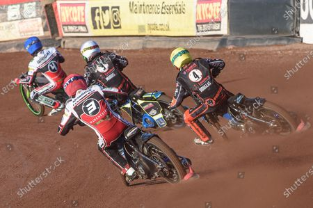 Steve Worrall  (Red) chases Ryan Douglas  (Yellow), Nick Morris  (White) and Charles Wright  (Blue) during the SGB Premiership match between Belle Vue Aces and Wolverhampton Wolves at the National Speedway Stadium, Manchester on Thursday 15th July 2021.