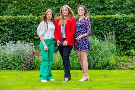 Princess Amalia, Princess Alexia and Princess Ariane of the Netherlands during the annual summer photo session of 2021 at Huis ten Bosch Palace in The Hague.