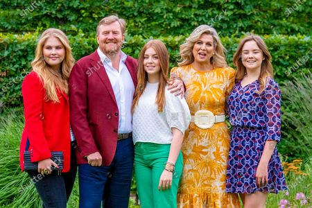 King Willem-Alexander and Queen Maxima of the Netherlands with their daughters Princess Amalia, Princess Alexia and Princess Ariane