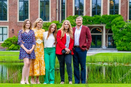 Stock Picture of King Willem-Alexander and Queen Maxima of the Netherlands with their daughters Princess Amalia, Princess Alexia and Princess Ariane