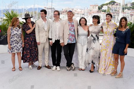 Amanda Livanou, from left, Karen Duffy, director Andrew Muscato, Jan Vogler, Bill Murray, Vanessa Perez, Mira Wang, Tanja Dorn and Emma Doxiadi pose for photographers at the photo call for the film 'New Worlds: The Cradle of Civilization' at the 74th international film festival, Cannes, southern France