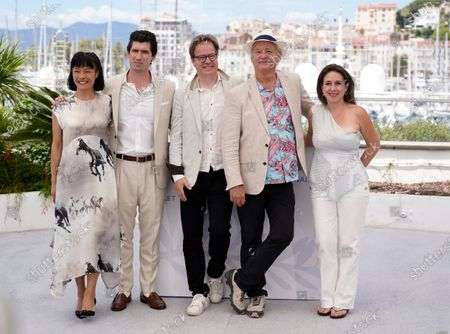 Mira Wang, from left, Andrew Muscato, Jan Vogler, Bill Murray and Vanessa Perez pose for photographers at the photo call for the film 'New Worlds: The Cradle of Civilization' at the 74th international film festival, Cannes, southern France