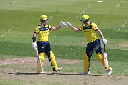 Stock Photo of D'Arcy Short and James Vince of Hampshire enjoy a useful partnership during Hampshire Hawks vs Essex Eagles, Vitality Blast T20 Cricket at The Ageas Bowl on 16th July 2021