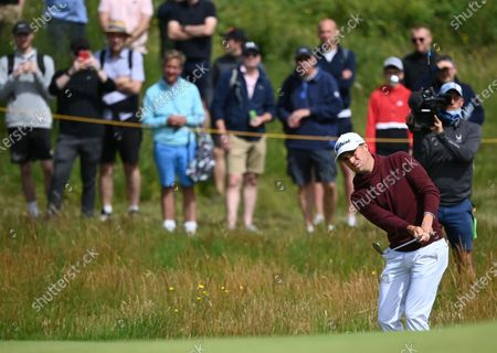 Justin Thomas of the US putts during the 2nd round of The Open 2021 golf championship at Royal St George's golf course in Sandwich, Kent, Britain, 16 July 2021.