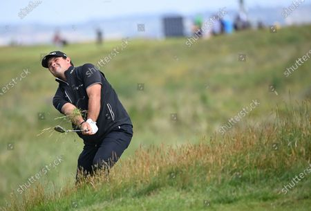 Patrick Reed of the US in action on the third hole during the 2nd round of The Open 2021 golf championship at Royal St George's golf course in Sandwich, Kent, Britain, 16 July 2021.