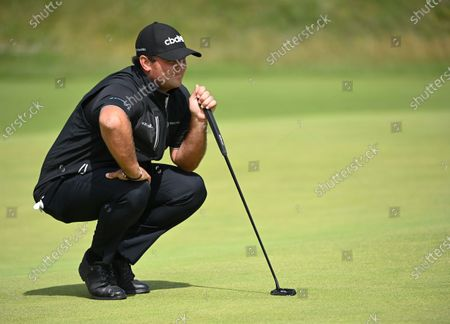 Stock Photo of Patrick Reed of the US in action on the third hole during the 2nd round of The Open 2021 golf championship at Royal St George's golf course in Sandwich, Kent, Britain, 16 July 2021.