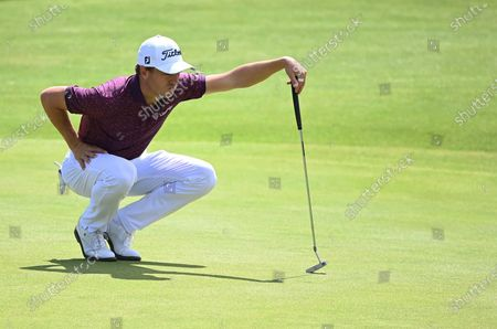 Justin Thomas of the US prepares to putt on the sixth hole during the 2nd round of The Open 2021 golf championship at Royal St George's golf course in Sandwich, Kent, Britain, 16 July 2021.