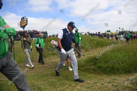 Phil Mickelson of the US walks after teeing off during the 2nd round of The Open 2021 golf championship at Royal St George's golf course in Sandwich, Kent, Britain, 16 July 2021.
