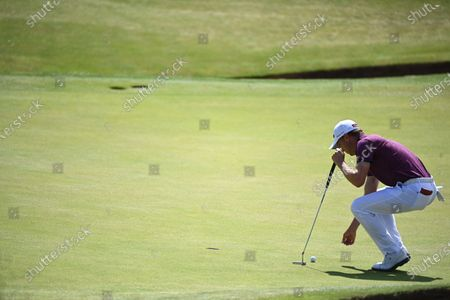 Justin Thomas of the US in action on the sixth hole during the 2nd round of The Open 2021 golf championship at Royal St George's golf course in Sandwich, Kent, Britain, 16 July 2021.