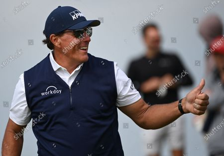 Phil Mickelson of the US gives a thumbs up after teeing off during the 2nd round of The Open 2021 golf championship at Royal St George's golf course in Sandwich, Kent, Britain, 16 July 2021.
