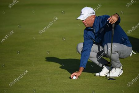 Stock Photo of Stewart Cink of the US in action on the fourteenth hole during the 2nd round of The Open 2021 golf championship at Royal St George's golf course in Sandwich, Kent, Britain, 16 July 2021.