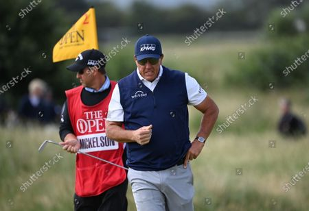 Phil Mickelson of the US reacts during the 2nd round of The Open 2021 golf championship at Royal St George's golf course in Sandwich, Kent, Britain, 16 July 2021.