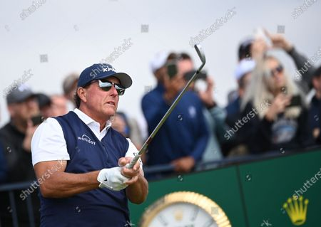 Phil Mickelson of the US tees off on the fourth hole during the 2nd round of The Open 2021 golf championship at Royal St George's golf course in Sandwich, Kent, Britain, 16 July 2021.