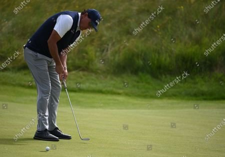 Phil Mickelson of the US putts during the 2nd round of The Open 2021 golf championship at Royal St George's golf course in Sandwich, Kent, Britain, 16 July 2021.